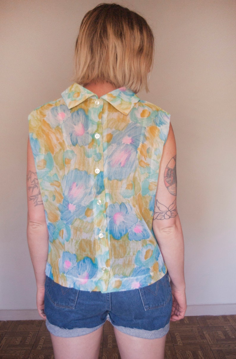 Vintage Sheer Floral Sleeveless Top  Women/'s Size Medium