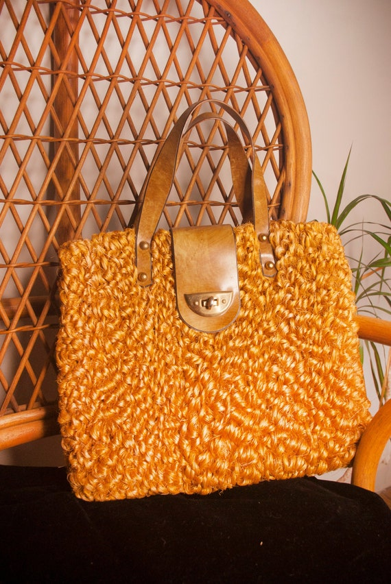 Vintage Clothing, 60 Orange Curly Straw Woven Hand