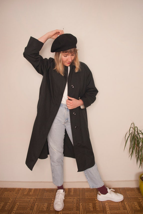 Vintage Clothing, 80s Black Trench Coat, Women's T