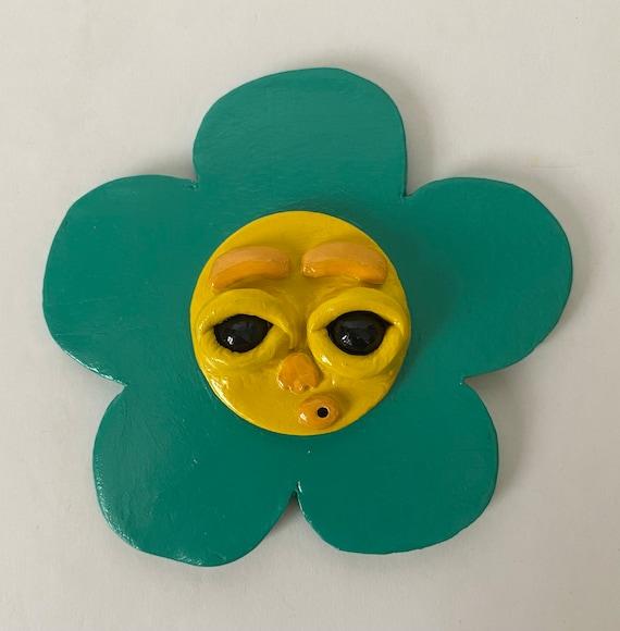 Handmade Teal flower incense holder