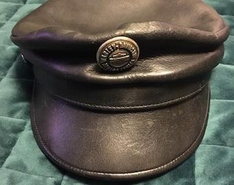a4ef4441b0d990 Rare Vintage leather Harley Davidson biker hat cap M L 70s 80s rock n roll  Kolbi Jean