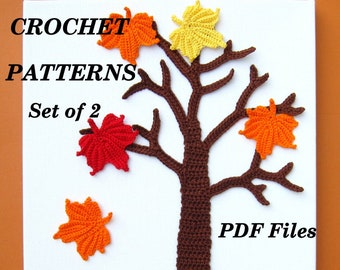 CROCHET PATTERN Maple Tree Applique, Set of 2 patterns - Tree and Maple Leaf, Fall, Autumn, Wall Art