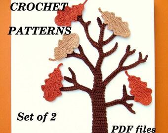 CROCHET PATTERN Oak Tree Applique Wall Art Fall Autumn