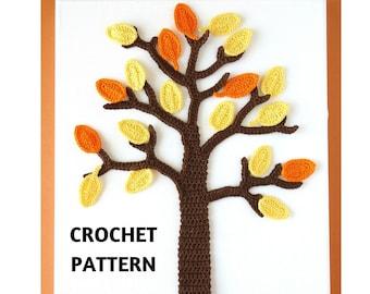 CROCHET PATTERN Fall Tree Applique, Autumn Tree, Crochet Wall Art, DIY Home Decor