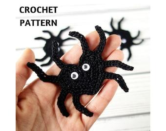 Crochet Pattern Spider Applique, Heart-Shaped Spider, Crochet Halloween Decoration, Embellishment