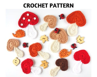 Crochet Pattern Mushroom Applique, Heart-Shaped Mushroom, Crochet Motif