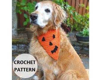 CROCHET PATTERN  Dog Bandana Halloween Jack O'Lantern Pumpkin Face DIY Pet Accessories