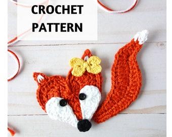 Crochet Pattern Fox Applique, Heart-Shaped Fox, Forest Animals, Crochet Motif, Embellishment