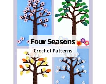 CROCHET PATTERN Four Seasons Tree, Winter, Spring, Summer, Fall