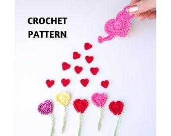 4cm Pink shades cardmaking embellishments scrapbooking applique Set of 20 Crochet hearts