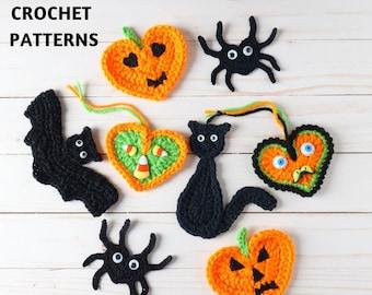 CROCHET PATTERN PACK #1 Halloween Applique Motif Embellishment