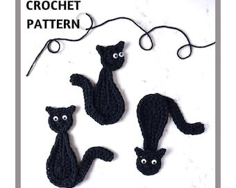 Crochet Pattern Halloween Black Cat Applique Motif Embellishment Decoration