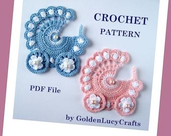 Baby Stroller Applique Crochet PATTERN PDF, Carriage, buggy, pram