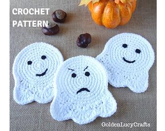 CROCHET PATTERN Ghost Coaster Applique Motif Halloween Decoration