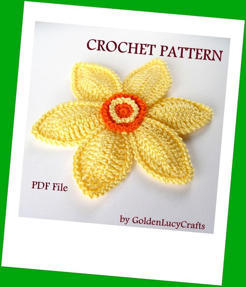 CROCHET PATTERN Daffodil Applique Spring Flower Narcissus image 0