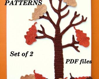 CROCHET PATTERNS - Set of 2, Wall Art, Oak Tree, Fall, Autumn, Oak Leaves
