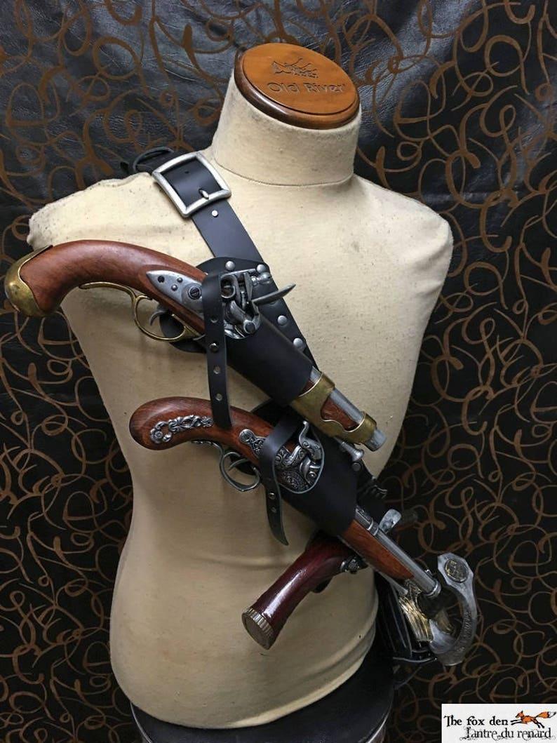 Pirate baldric holster kit for 3 flintlock pistol with | Etsy
