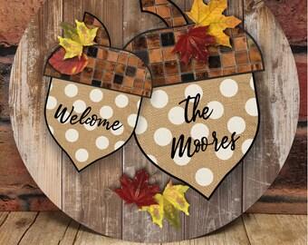 Fall Acorn Personalized Door Hanger