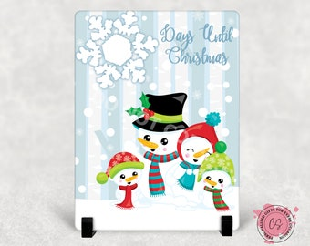 Snowman Family Days Until Christmas Dry Erase Board