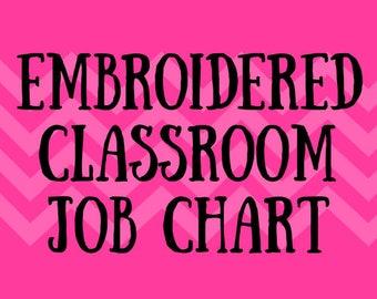 Embroidered Classroom Job Chart