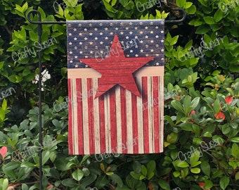 Rustic American Flag Garden Flag