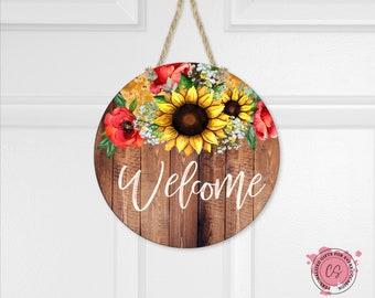Sunflower Welcome Sign - Dark Faux Wood Door Hanger