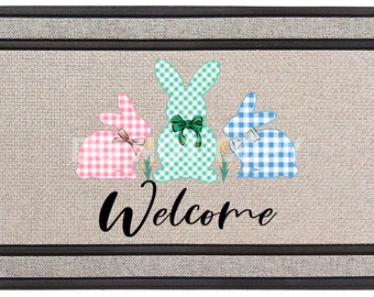 Plaid Easter Bunny Welcome Mat