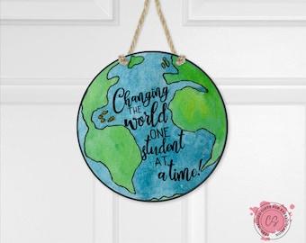 Earth Teacher Door Hanger