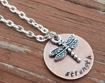 Strength Necklace with Dragonfly Charm