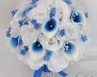 Royal blue bouquet etsy wedding bouquet bridal bouquet bridesmaid bouquet silk flower bouquet wedding flowers 17 piece set blue royal blue lily of angeles mightylinksfo
