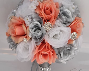 Wedding flowers etsy wedding bouquet bridal bouquet silk flower bouquet wedding flowers bouquet silk flowers wedding bouquets coral silver lilyofangeles junglespirit Gallery