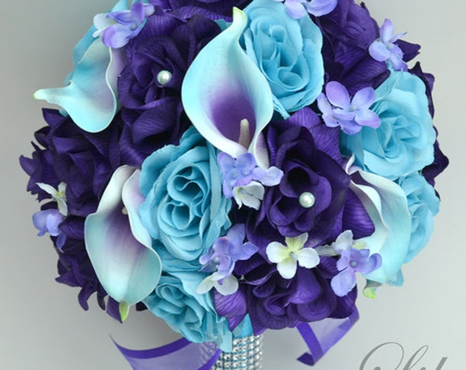 Wedding Flowers, Wedding Bouquets, Bridal Bouquet, Wedding Flowers sets, Packages, Silk Bouquet, Turquoise, Malibu, Purple, Lily of Angeles