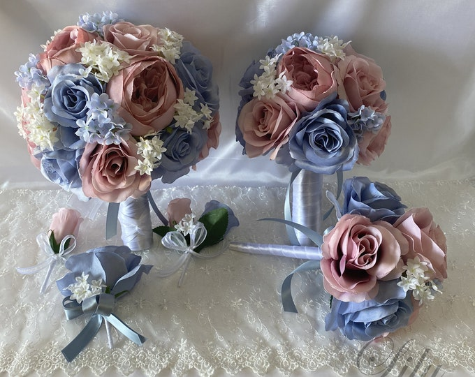 Wedding Bouquet, Bridal Bouquet, Bridesmaid Bouquet, 17 PIECE PACKAGE, Silk Flower, Wedding Flower, Mauve, Dusty Blue, Lily of Angeles