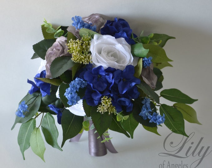 Wedding Bouquet Bridal Bouquet Bridesmaid Bouquet Silk Flower Bouquet Wedding Flower Royal Blue Gray White Charcoal Greenery Lily of Angeles