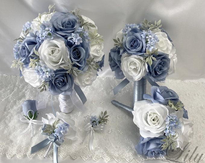 Wedding Bouquet, Bridal Bouquet, Bridesmaid Bouquet, 17 PIECE PACKAGE, Silk Flower, Wedding Flower, Silver, Dusty Blue, Lily of Angeles