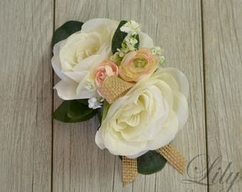 Rustic Corsage Wristband Corsage Corsage Wristlet Wrist Corsage Silk Corsage Corsage Bracelet Mother Corsage Lily of Angeles Corsage