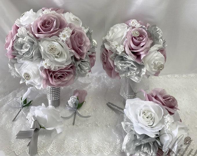 Wedding Bouquet, Bridal Bouquet, Bridesmaid Bouquet, 17 PIECE PACKAGE, Silk Flower, Wedding Flower, Silver, Dusty Lavender, Lily of Angeles