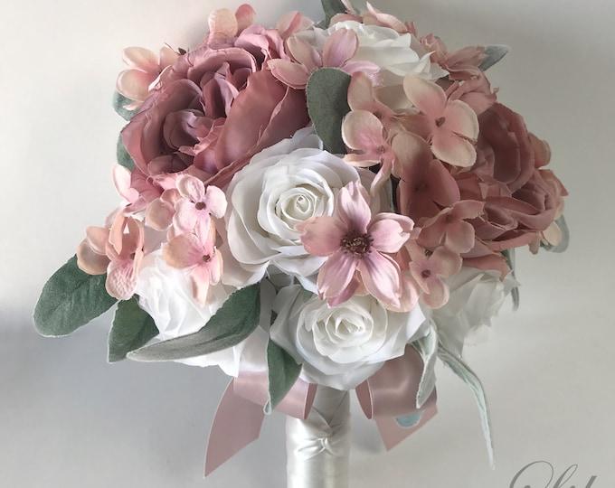 Wedding Bouquet, Bridal Bouquet, Bridesmaid Bouquet, Silk Flower Bouquet, Wedding Flower, Dusty Pink, Mauve, Blush, Brick, Lily of Angeles