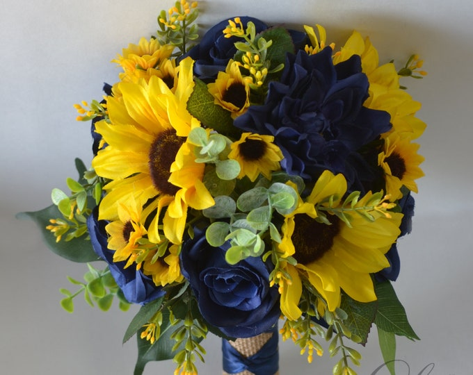 Wedding Bouquet, Bridal Bouquet, Bridesmaid Bouquet, Silk Flower Bouquet, Wedding Flower, yellow, navy, Navy blue, sunflower Lily of Angeles