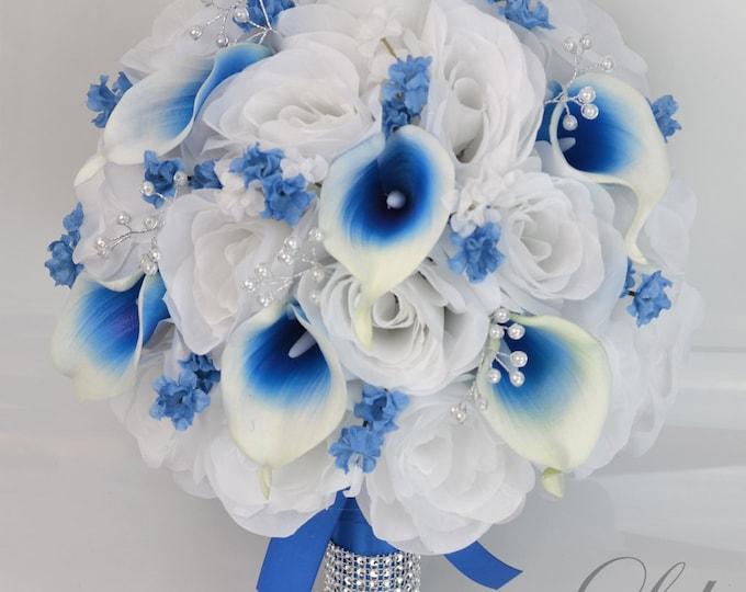 Wedding Bouquet, Bridal Bouquet, Bridesmaid Bouquet, Silk Flower Bouquet, Wedding Flowers, 17 Piece Set, Blue, Royal Blue, Lily of Angeles