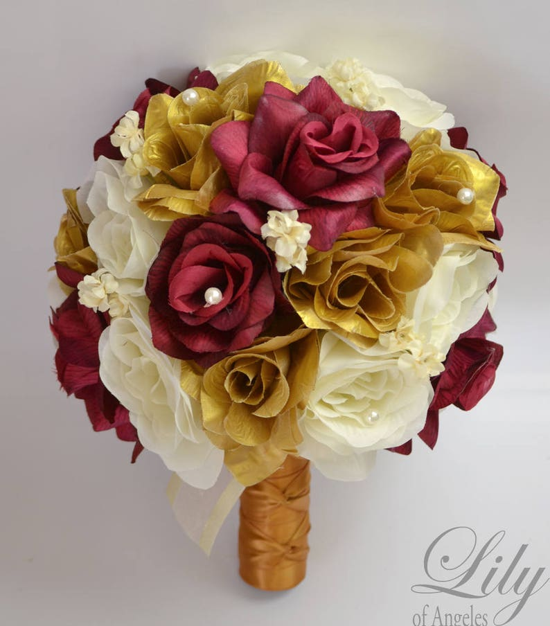 Bridal Bouquet Wedding Flowers Silk Bouquet 17 Piece Package Silk Flower Bouquet Wedding Bouquet Gold Burgundy Wine Lily of Angeles