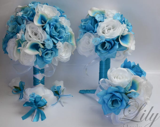 Wedding Bouquet, Bridal Bouquet, Silk Flower Bouquet, Wedding Flowers, Silk Bouquet, 17 Piece Package, Malibu, Turquoise, Lily of Angeles