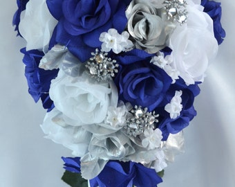 Wedding Flowers, Wedding Bouquet, Silk Flower Bouquet, Bridesmaid Bouquet, Cascade, Teardrop, 17 Piece Package, Dark Blue, Lily of Angeles