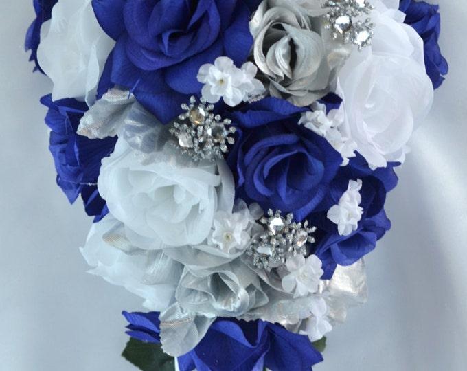 Wedding Flowers, Wedding Bouquet, Silk Flower Bouquet, Bridesmaid Bouquet, Cascade, Teardrop, 17 Piece Package, Dark Blue, Lily of Angeles