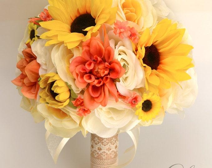 Wedding Bouquet, Bridal Bouquet, Bridesmaid Bouquet, Silk Flower Bouquet, Wedding Flowers, 17 pcs, Sunflower, Yellow, Coral, Lily of Angeles