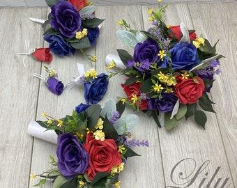 Wedding Bouquet, Bridal Bouquet, Bridesmaid Bouquet, 17 PIECE PACKAGE, Silk Flower, Wedding Flower, Blue, Purple, Red, Apple Lily of Angeles