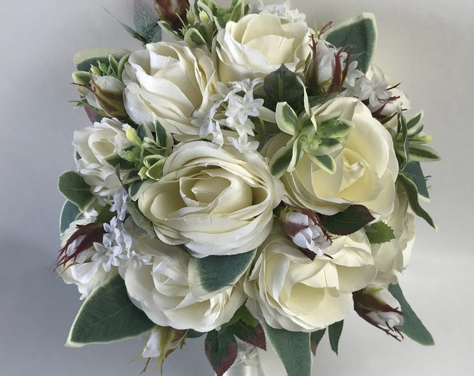 Wedding Bouquet, Bridal Bouquet, Bridesmaid Bouquet, Silk Flower Bouquet, Wedding Flower, Ivory, Cream, Green, Champagne, Lily of Angeles
