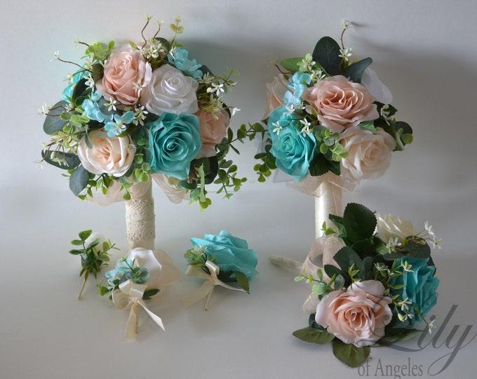 Wedding Bouquet, Bridal Bouquet, Bridesmaid Bouquet, Silk Flower Bouquet, Wedding Flower, Robins egg blue, Spa, blush, pool, Lily of Angeles