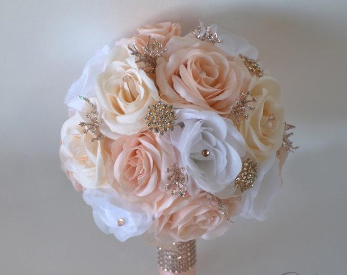 Wedding Bouquet, Bridal Bouquet, Bridesmaid Bouquet, Silk Flower Bouquet, Wedding Flower, rose gold, rosegold, blush, peach, Lily of Angeles