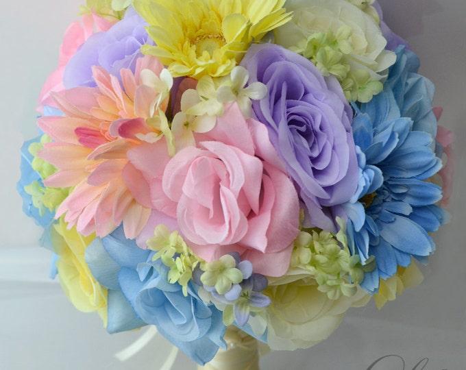 Wedding Bouquet, Bridal Bouquet, Bridesmaid Bouquet, Silk Flower Bouquet, Wedding Flowers, 17 Piece Package, Pastel Colors, Lily of Angeles